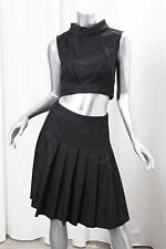 CHANEL Black Wool Sleeveless Cropped Top Blouse+Pleated Skirt Set Outfit 36/4