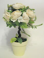 White Rose Artificial Topiary Tree Small Decorative Accent