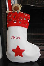 Personalised Christmas Stocking red top Embroidered name UK handmade large