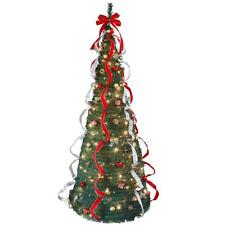 NEW 7 FT Pop-Up Christmas Tree Collapsible Clear Lights Ribbon PreLit Decorated