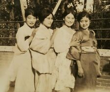 ANTIQUE VINTAGE SHANGHAI CHINA 4 CHINESE GIRLS TRADITIONAL DRESS REHILL PHOTO
