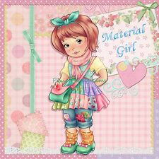"Cute Patchwork Dress ""Material Girl"" Fabric Art Quilt Block 8""x8"""