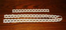 """2 PIECES OF VINTAGE WHITE COTTON LACE FOR RIBBON-ONE 42"""" PIECE & ONE 13"""" PIECE"""