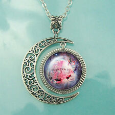 New Peter Pan Quote necklace Moon pendant Pink Nebula jewelry necklaces BFF