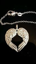 "NEW GUARDIAN ANGEL 925 STERLING SILVER NECKLACE HEART WING 18"" LOBSTER CLASP"