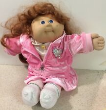 Vtg 1987 Coleco Cabbage Patch Kids Girl Doll Red Cornsilk Hair Pink Outfit
