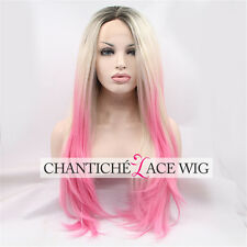 Women Ombre Blonde Pink Dark Roots Synthetic Hair Lace Front Wigs Heat Resistant