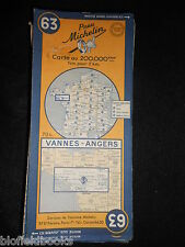 Vintage french michelin carte de vannes/angers (feuille 63/carte de france) c1950