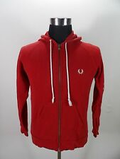 Men's FRED PERRY Hoodie, Size S Small, Red, Cotton, Full Zip #BL888
