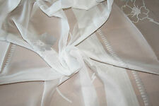 """Ivory white voile curtain fabric remnant 117x119cm (46x47"""") floral pattern"""