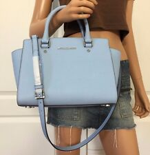 NWT MICHAEL KORS Selma Saffiano Leather Medium Satchel Tote Bag Purse Light Blue