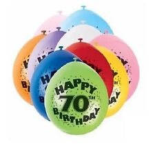 Pack of 10 Happy 70th Birthday Party Balloons Mixed Colours Air Fill Only