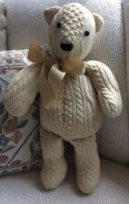 "Hand Made Cable Knit Wool? Sweater Plush Teddy Bear Button Eyes 19"" Nicely Made"