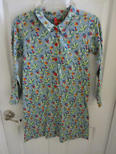 NWT Vintage Hanna Andersson 140 10 12 Blue Floral Long Sleeved Collar Dress New