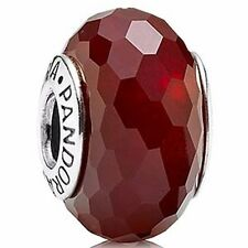 Authentic Pandora 791066 Fascinating red Murano Bead Charm Silver New
