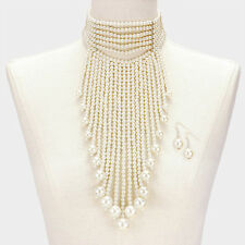 "12"" white faux pearl 12"" fringe tassel choker bib collar necklace 1.50"" earrings"