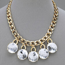 Gold Chain Link Clear Stone Dangle Pendant Urban Style Necklace