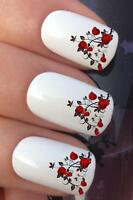 WATER NAIL TRANSFERS RED ROSE BLACK VINES FRENCH TIP WATER DECALS STICKERS *642