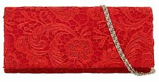 Satin Lace Clutch Bag Both Sides Evening Wedding Bridal Prom Designer Fashion