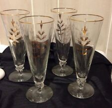 Mid Century Modern Pilsner Barware Champagne 4 Glasses Gold Tree Atomic