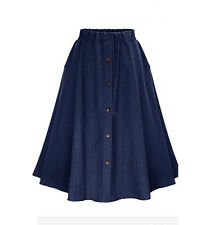 Women A-line High Waist Long Midi Denim Flare Party Vintage Fashion Skater Skirt