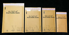 28 KRAFT BUBBLE MAILING ENVELOPE COMBO ~ 4 POPULAR SIZES ~ SELF-SEALING MAILERS
