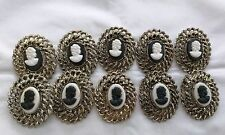 Lot of 10 Vintage Cameo Lady Head Brooch Pin Beautiful Great Antique Style