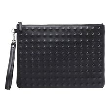 Auth MCM Tantris Black Unisex Leather Rock Stud Pouch Clutch Bag
