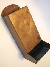 Vintage COPPER Metal MATCH BOX Holder Matches HEART Pattern Nice Patina!
