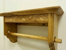 PAPER TOWEL HOLDER WITH SHELF SOLID PINE FINISHED IN A LIGHT GOLDEN OAK