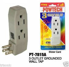 LOT OF 2 TRIPLE OUTLET GROUNDED ELECTRIC WALL 3 WAY TAP POWER ADAPTER UL LISTED