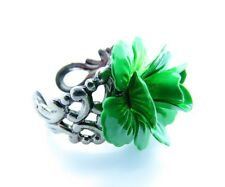 Vintage Inspired Womens Ladies Green Enamel Rose Silver Filigree Ring Adjustable