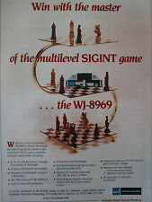 9/89 PUB WATKINS JOHNSON WJ-8969 COMPACT MICROWAVE RECEIVER  ECHECS CHESS AD