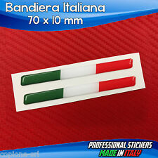 2 Adesivi Resinati Stickers 3D Flag Bandiera ITALIA 7 x 1 cm