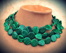 SILKY LOOKING GENUINE GREEN MALACHITE 3STRAND NECKLACE Chunky STATEMENT JEWELRY