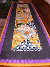 Halloween Spider Webs Pumpkins Black Cats Tablerunner Handmade & Finished Quilt
