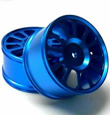 85622 285039R 1/16 Scale RC Rear Wheels Rims 2 Chrome Light Blue 12 Spoke Alloy
