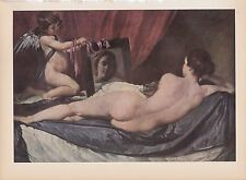 "1939 Vintage ""VENUS AND CUPID"" NUDE w/ MIRROR VELAZQUEZ Color Art Plate Litho"