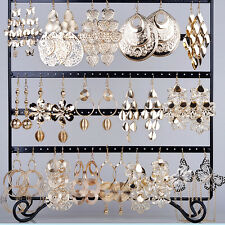 Wholesale Jewelry lots 24pairs Mixed Style Gold Plated Fashion Dangling Earrings