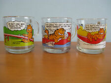 SET OF 3 VINTAGE COLLECTIBLE 1978 GARFIELD AND ODIE MCDONALD'S GLASS CUPS / MUGS