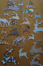 Mixed Lot 25 Christmas Reindeer Cut Outs. Various Colours/Patterns.
