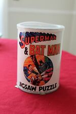 Vintage 1974 Superman & Batman Jigsaw Puzzle in Canister