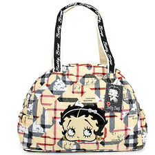 Betty Boop Quilted Diaper Bag Hand Bag  with Pad - Brown Checkered Cotton