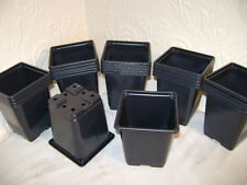 200 X 9cm SQUARE BLACK PLASTIC PLANT POTS EX VALUE