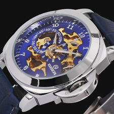 Military Transparent Men's Skeleton Blue Leather Auto Mechanical Sport Watch