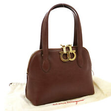Auth Salvatore Ferragamo Gancini Hand Bag Brown Gold Leather Italy VTG V09278
