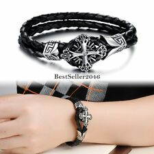 Stainless Steel fleur de lis Celtic Cross Black Leather Bracelet for Men