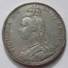 British Queen Victoria 1889 VF silver Jubilee head CROWN - 1037