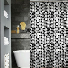 QUICKFIT CLEAR MODERN SHOWER CURTAIN + 12 DECORATIVE HOOKS   GREY WHITE SQUARES