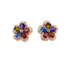Fashion Swarovski Element Crystal 18K Gold Plated Multicolor Zircon Earrings
